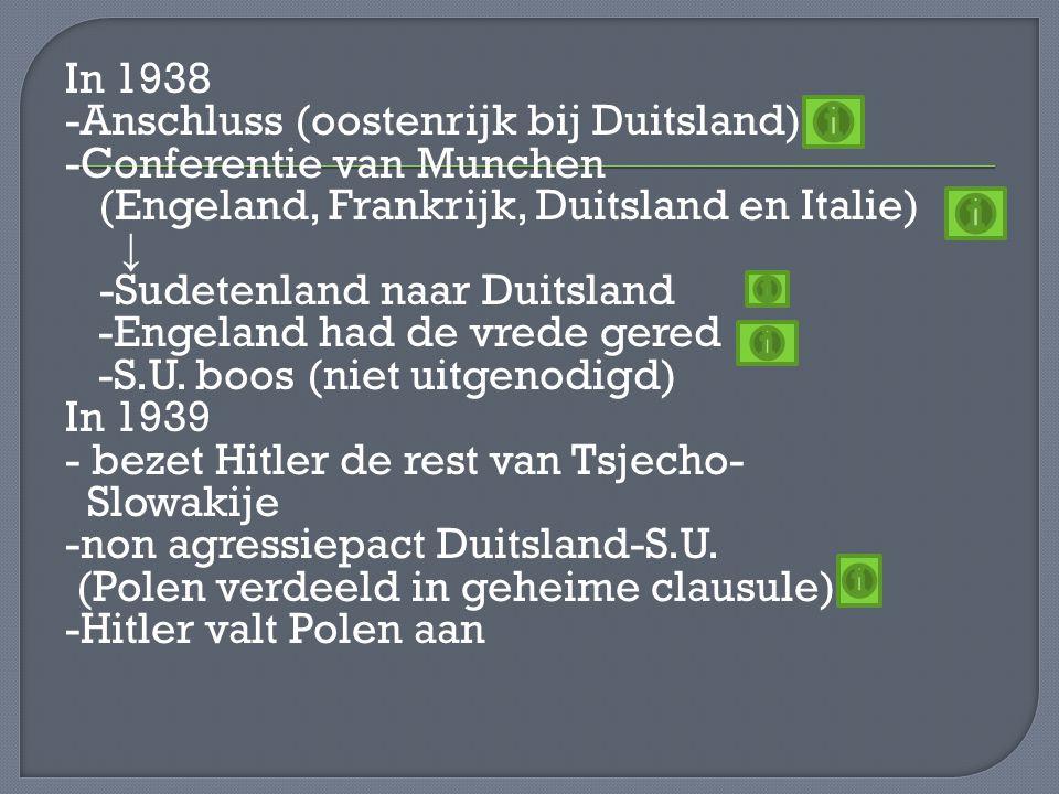 In 1938 -Anschluss (oostenrijk bij Duitsland) -Conferentie van Munchen (Engeland, Frankrijk, Duitsland en Italie) ↓ -Sudetenland naar Duitsland -Engeland had de vrede gered -S.U.