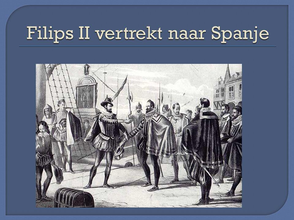 Filips II vertrekt naar Spanje