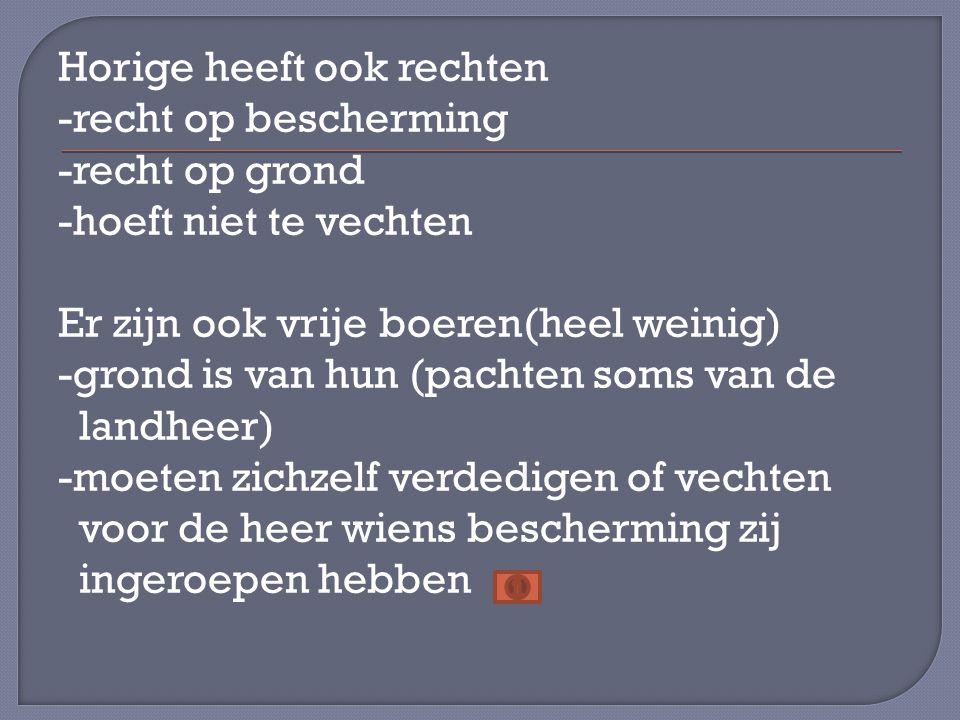 Horige heeft ook rechten -recht op bescherming -recht op grond -hoeft niet te vechten Er zijn ook vrije boeren(heel weinig) -grond is van hun (pachten soms van de landheer) -moeten zichzelf verdedigen of vechten voor de heer wiens bescherming zij ingeroepen hebben