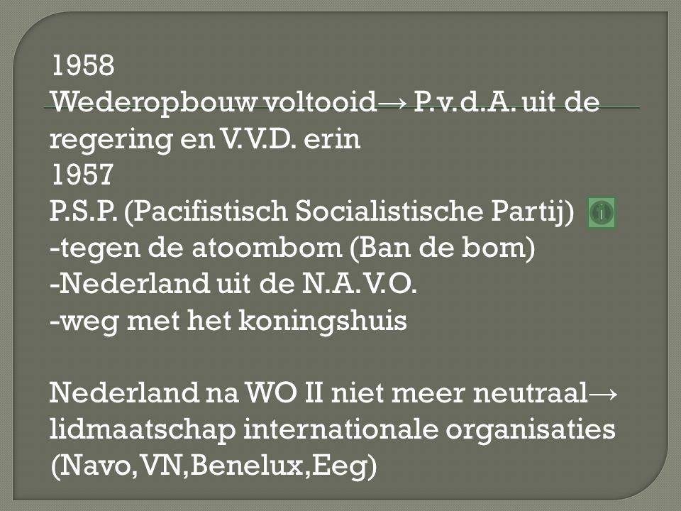1958 Wederopbouw voltooid→ P. v. d. A. uit de regering en V. V. D