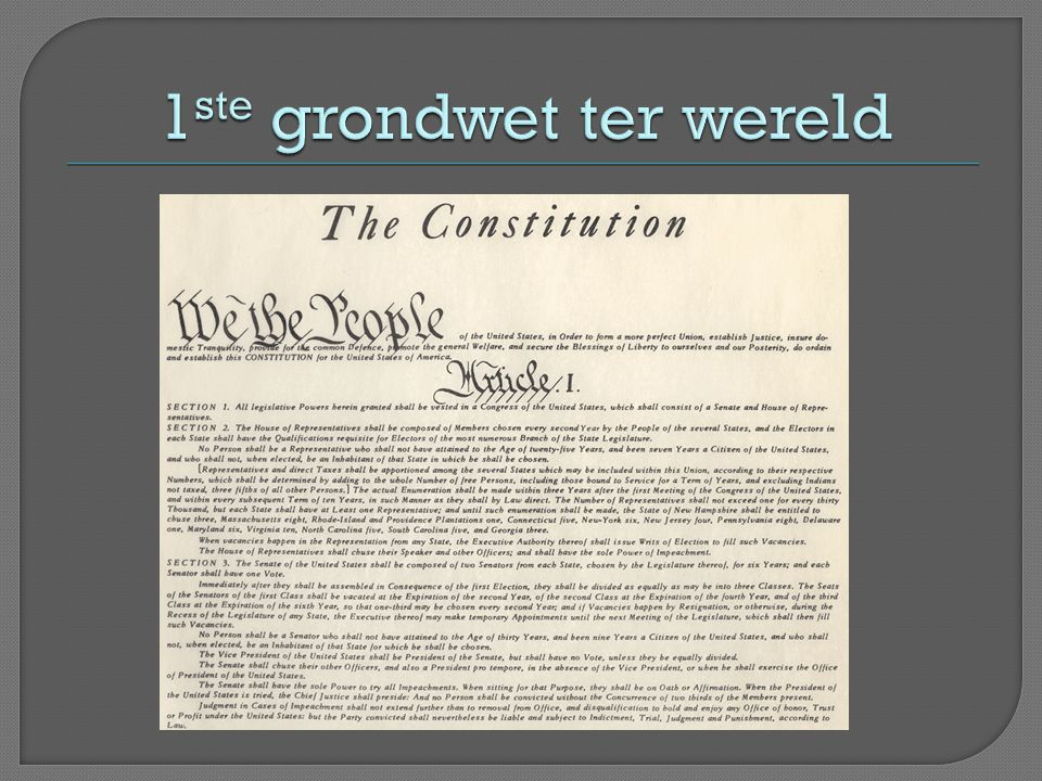 1ste grondwet ter wereld