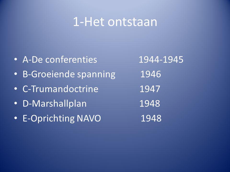 1-Het ontstaan A-De conferenties 1944-1945 B-Groeiende spanning 1946