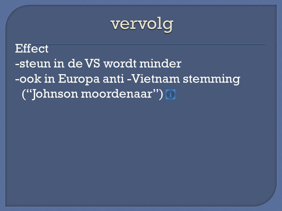 vervolg Effect -steun in de VS wordt minder -ook in Europa anti -Vietnam stemming ( Johnson moordenaar )