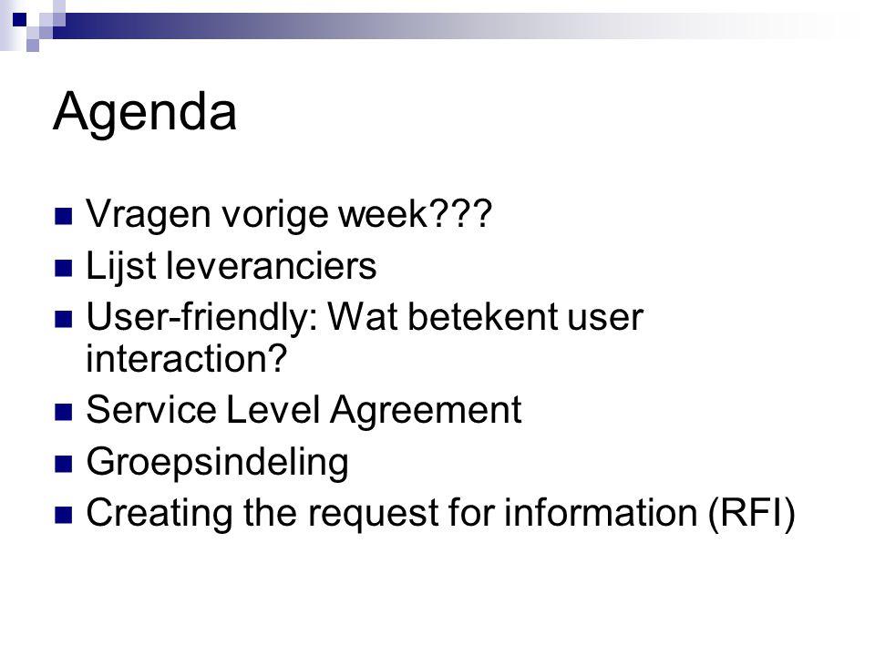 Agenda Vragen vorige week Lijst leveranciers