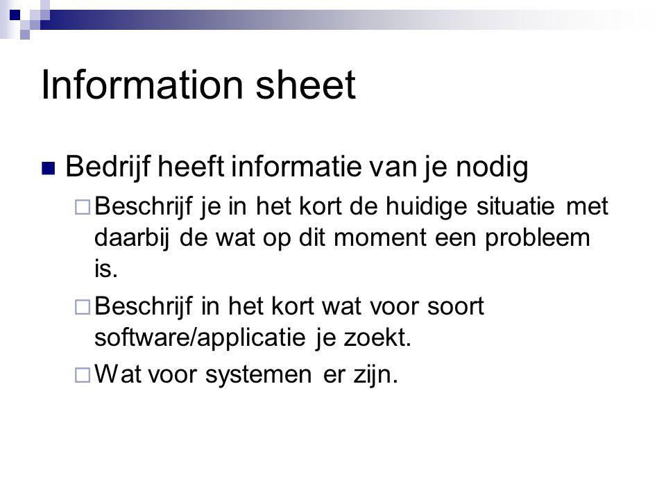 Information sheet Bedrijf heeft informatie van je nodig