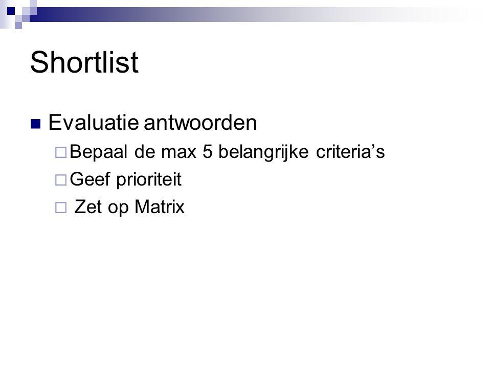 Shortlist Evaluatie antwoorden Bepaal de max 5 belangrijke criteria's