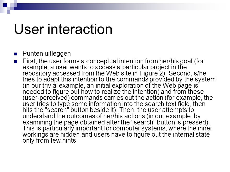 User interaction Punten uitleggen