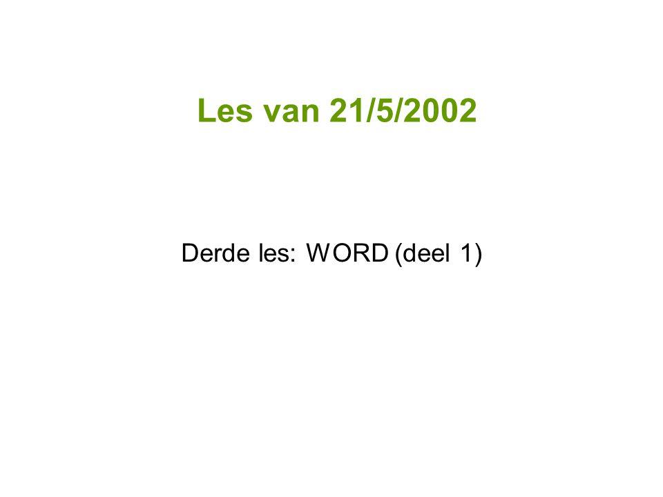Derde les: WORD (deel 1)