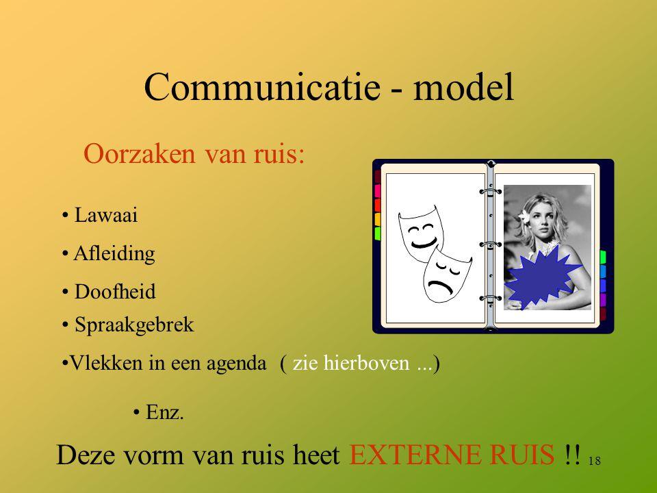 Communicatie - model Oorzaken van ruis: