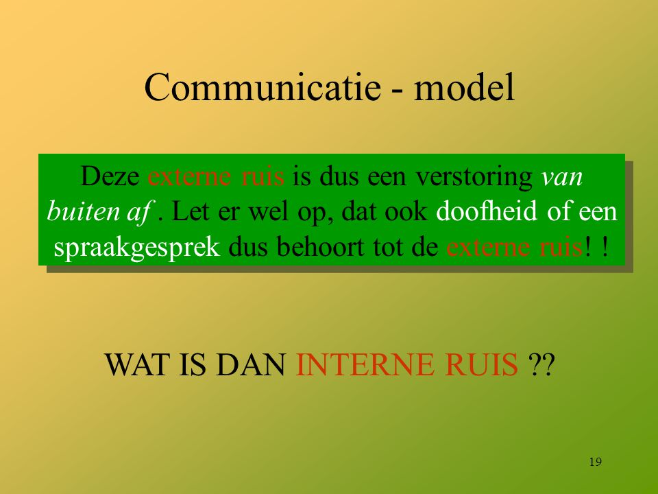 Communicatie - model WAT IS DAN INTERNE RUIS