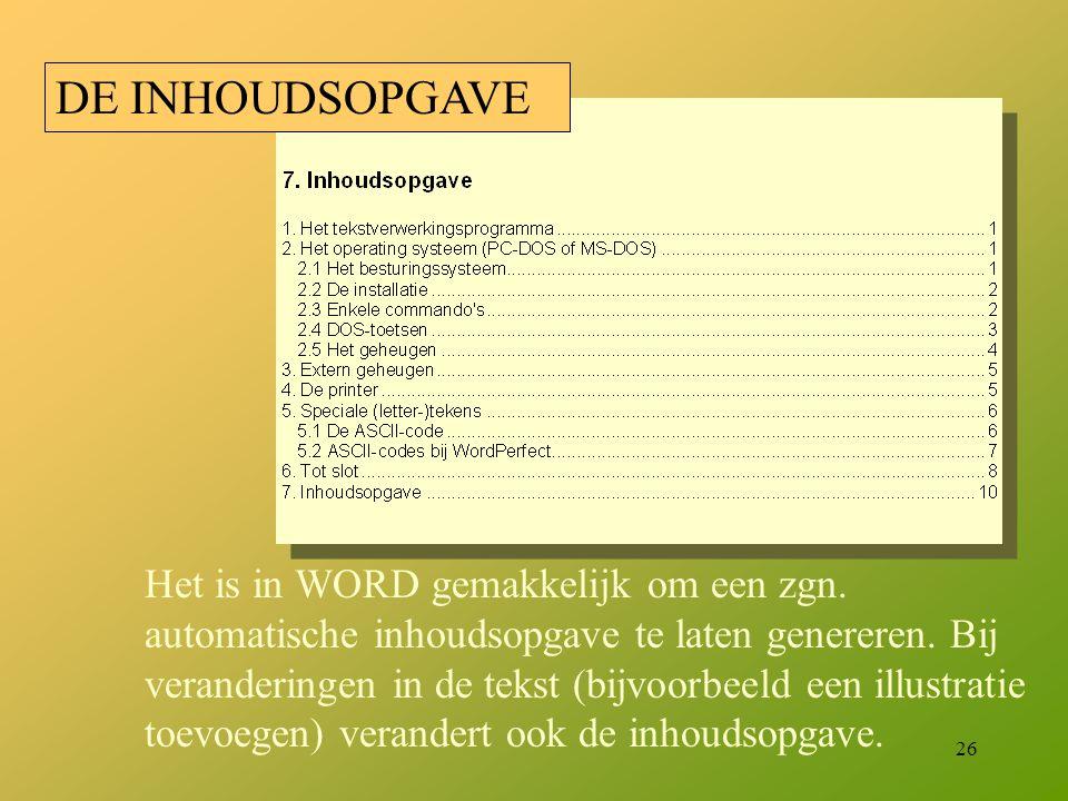 DE INHOUDSOPGAVE