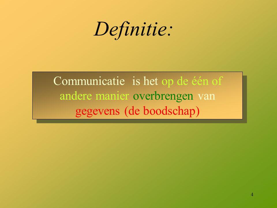 Definitie: Communicatie is het op de één of andere manier overbrengen van gegevens (de boodschap)