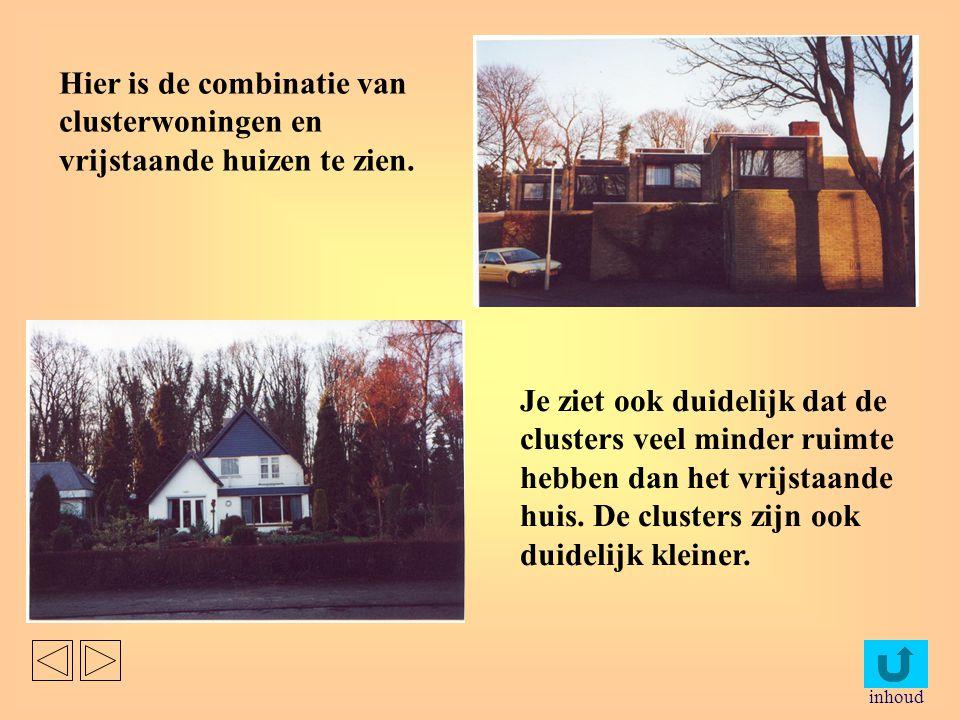 Hier is de combinatie van clusterwoningen en vrijstaande huizen te zien.