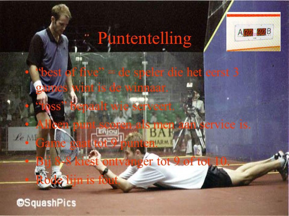 Puntentelling best of five = de speler die het eerst 3 games wint is de winnaar. toss bepaalt wie serveert.