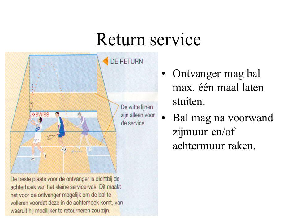 Return service Ontvanger mag bal max. één maal laten stuiten.