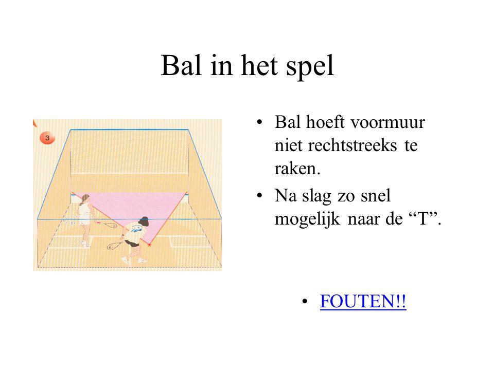 Bal in het spel Bal hoeft voormuur niet rechtstreeks te raken.