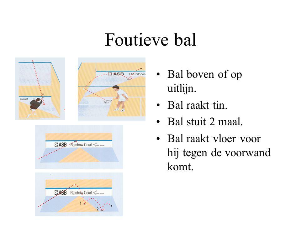 Foutieve bal Bal boven of op uitlijn. Bal raakt tin. Bal stuit 2 maal.