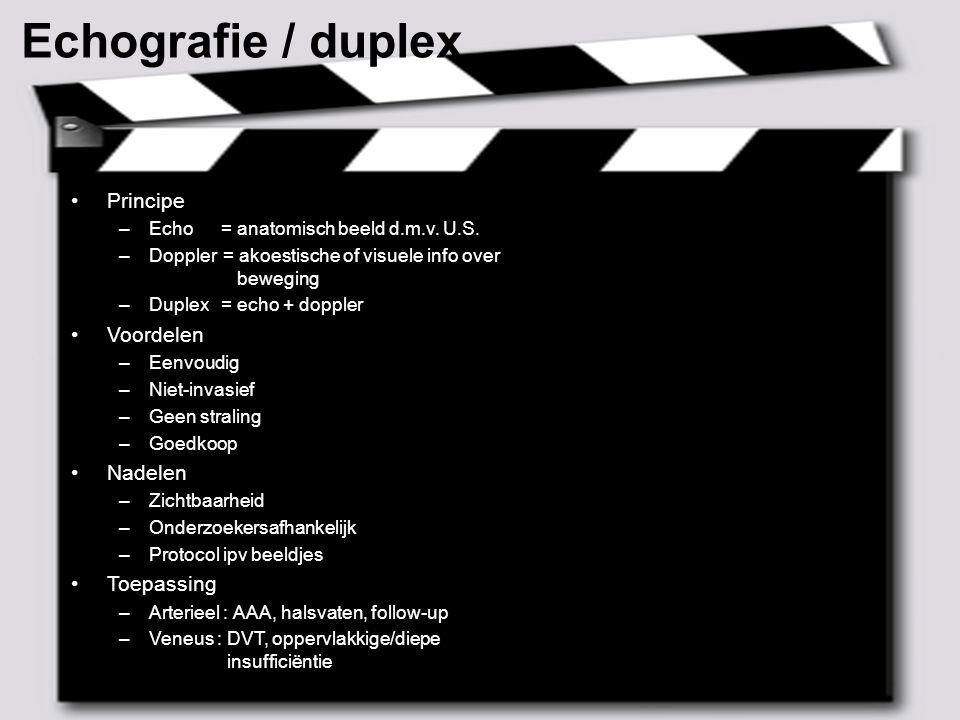 Echografie / duplex Principe Voordelen Nadelen Toepassing
