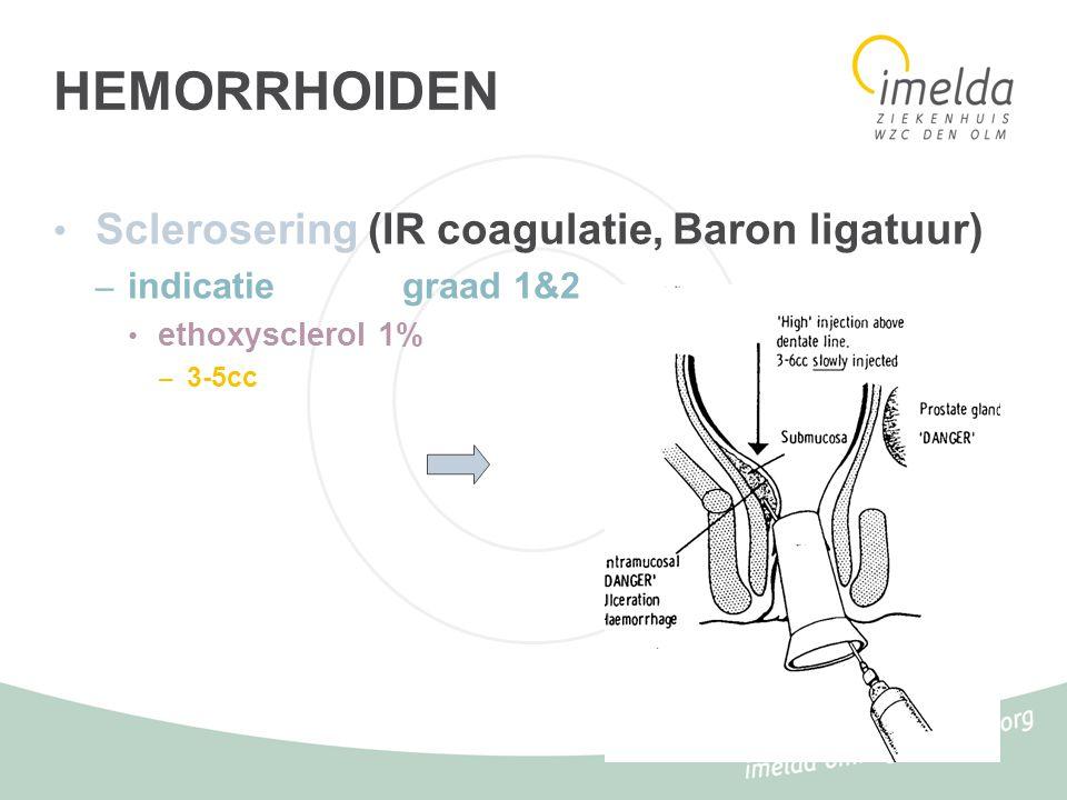 HEMORRHOIDEN Sclerosering (IR coagulatie, Baron ligatuur)