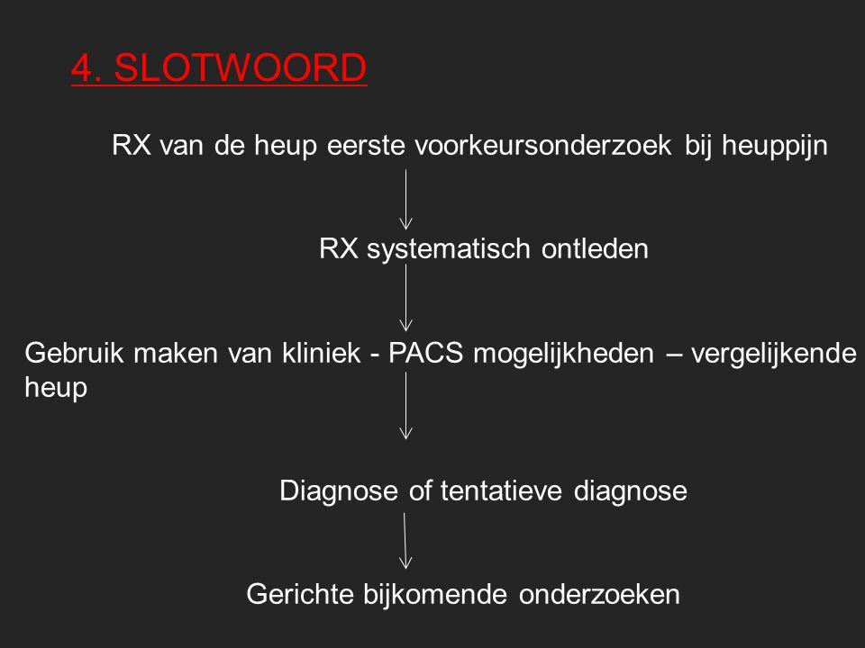 4. SLOTWOORD RX van de heup eerste voorkeursonderzoek bij heuppijn