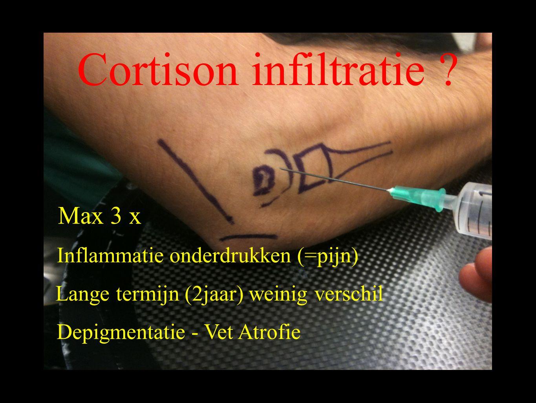 Cortison infiltratie Max 3 x Inflammatie onderdrukken (=pijn)