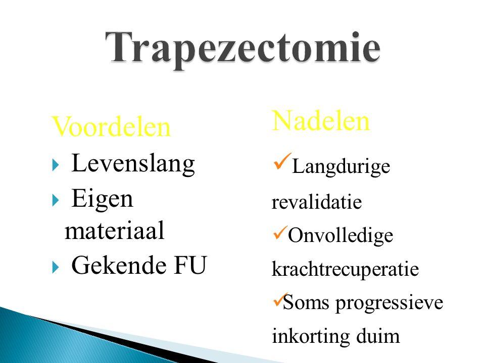 Trapezectomie Nadelen Voordelen Langdurige revalidatie Levenslang