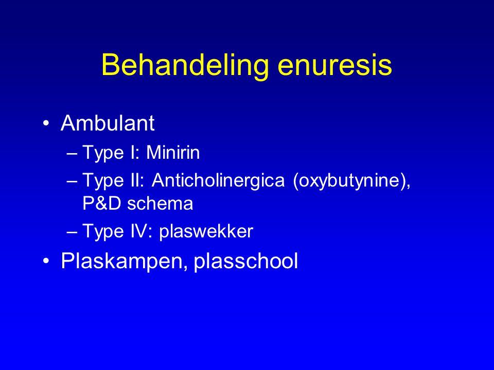 Behandeling enuresis Ambulant Plaskampen, plasschool Type I: Minirin