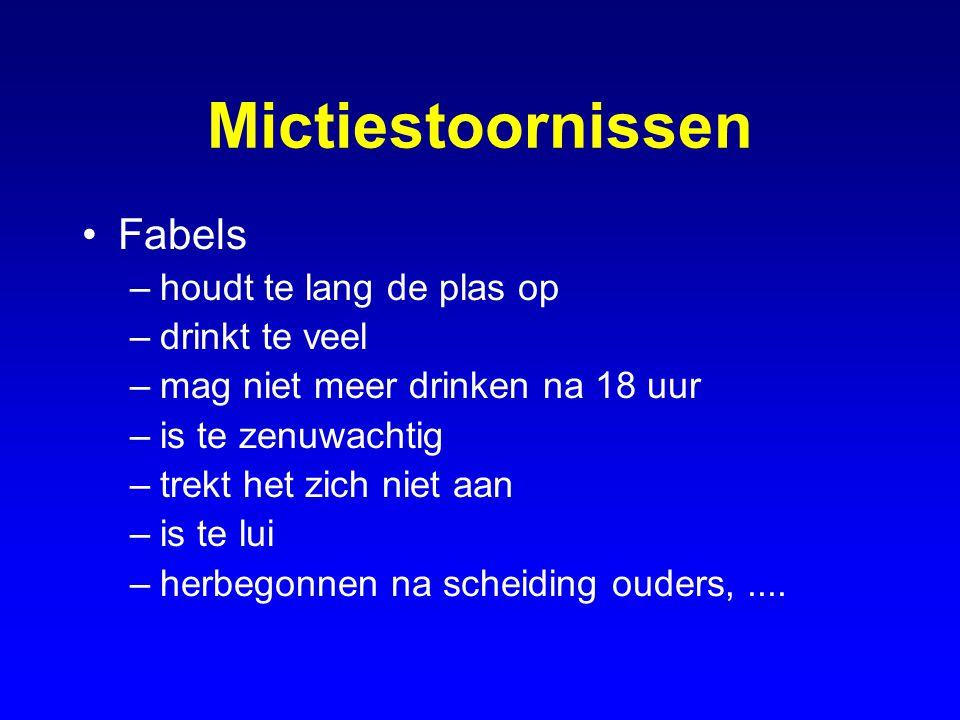 Mictiestoornissen Fabels houdt te lang de plas op drinkt te veel