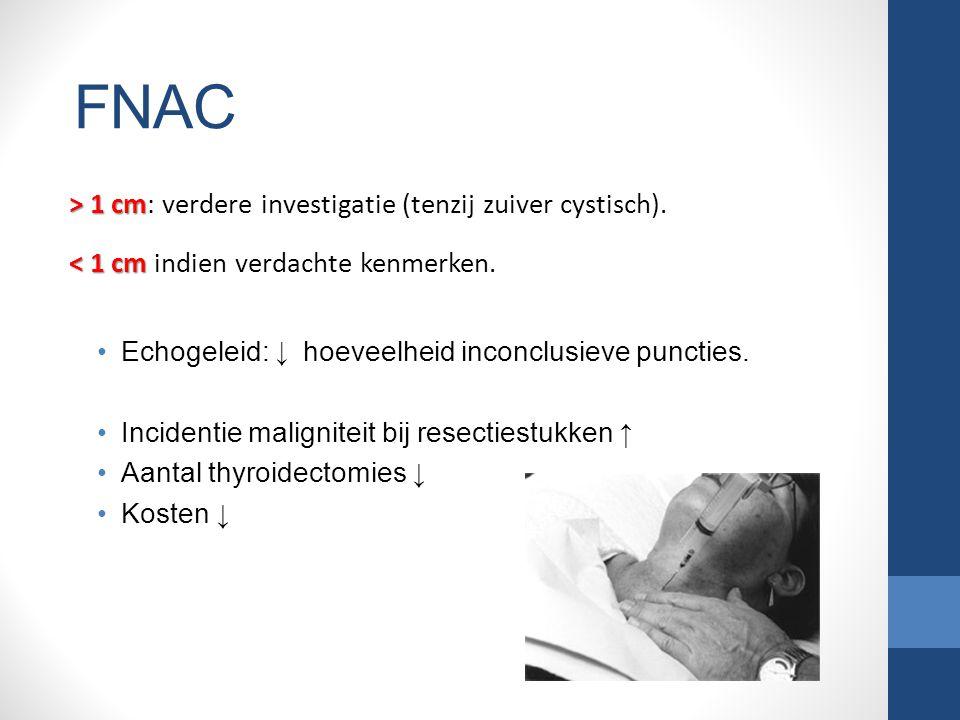 FNAC > 1 cm: verdere investigatie (tenzij zuiver cystisch). < 1 cm indien verdachte kenmerken. Echogeleid: ↓ hoeveelheid inconclusieve puncties.