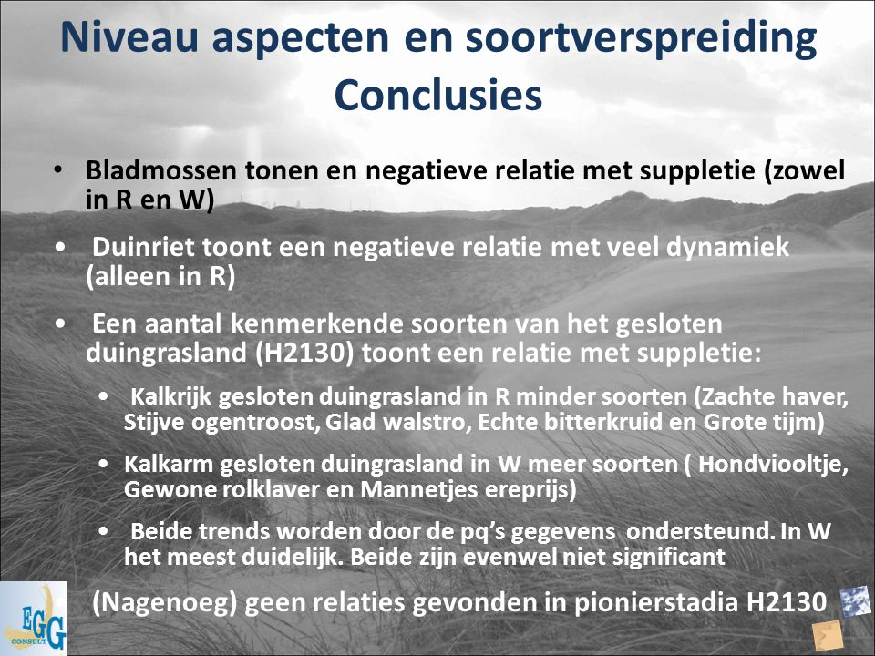 Niveau aspecten en soortverspreiding Conclusies