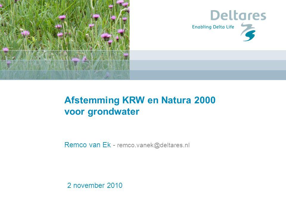 Afstemming KRW en Natura 2000 voor grondwater