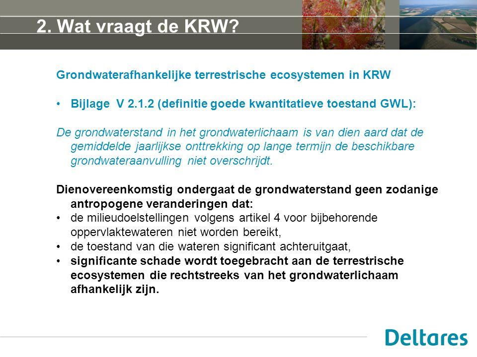 5 april 2017 2. Wat vraagt de KRW Grondwaterafhankelijke terrestrische ecosystemen in KRW.