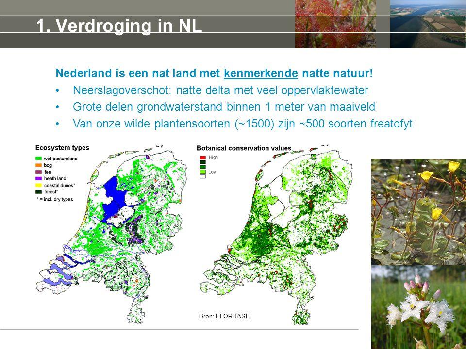 5 april 2017 1. Verdroging in NL. Nederland is een nat land met kenmerkende natte natuur! Neerslagoverschot: natte delta met veel oppervlaktewater.