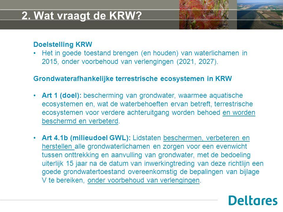 2. Wat vraagt de KRW Doelstelling KRW