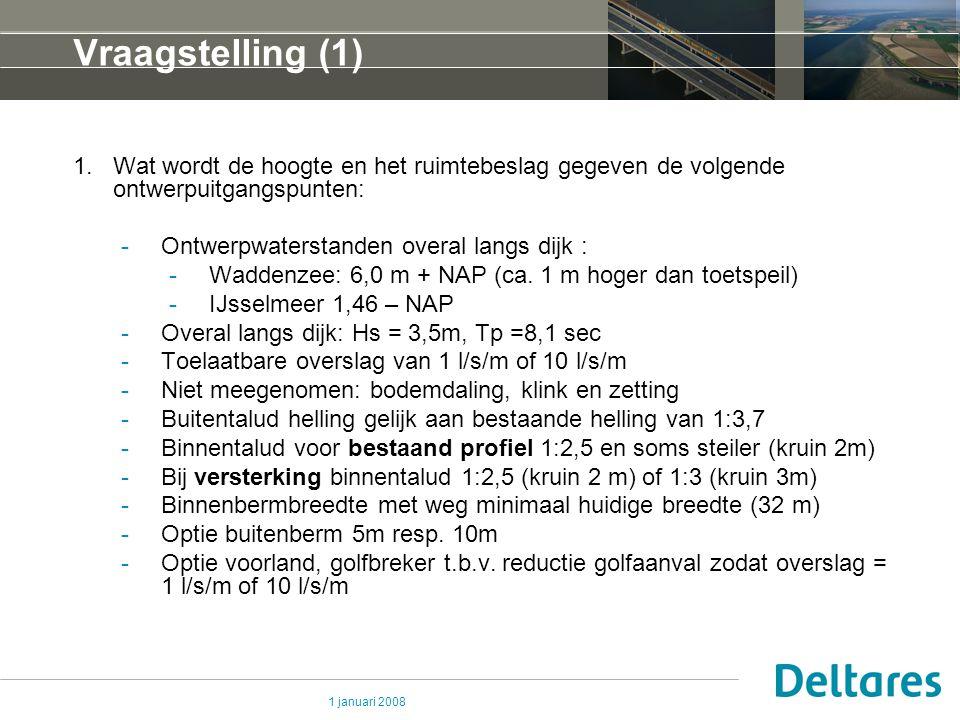 Vraagstelling (1) Wat wordt de hoogte en het ruimtebeslag gegeven de volgende ontwerpuitgangspunten: