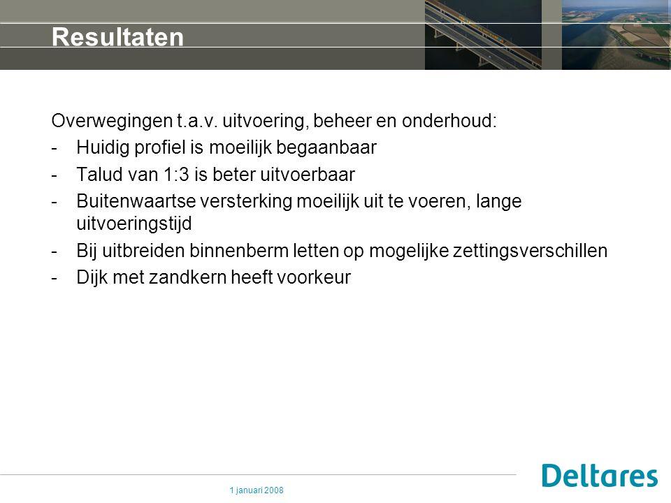 Resultaten Overwegingen t.a.v. uitvoering, beheer en onderhoud: