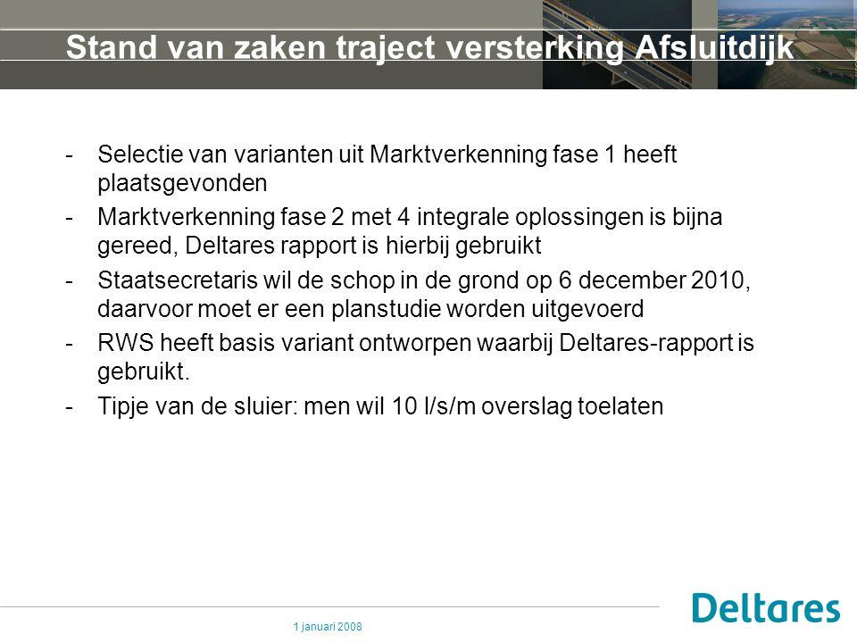 Stand van zaken traject versterking Afsluitdijk