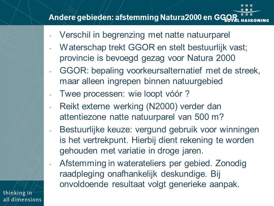 Andere gebieden: afstemming Natura2000 en GGOR