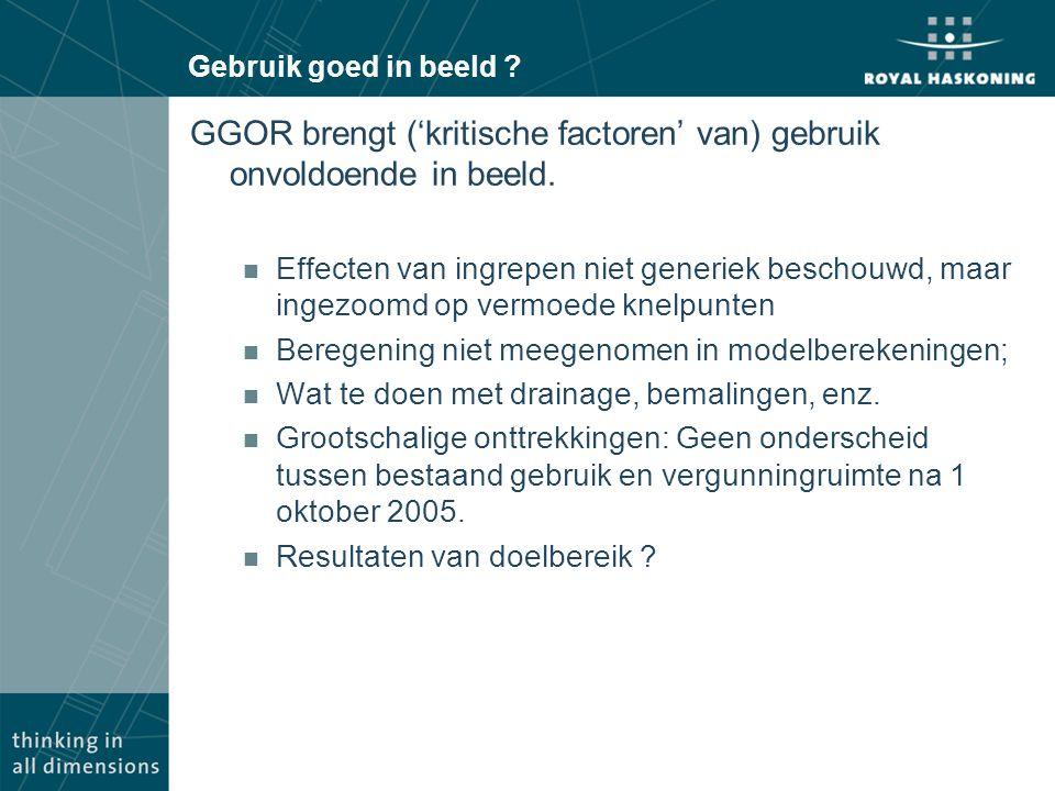 GGOR brengt ('kritische factoren' van) gebruik onvoldoende in beeld.