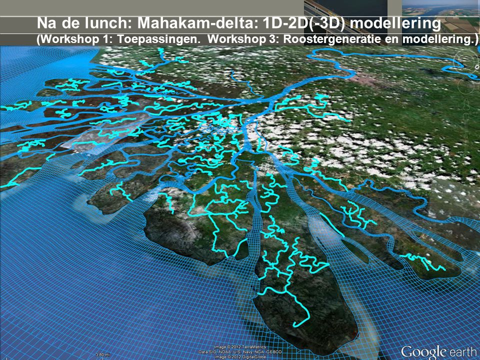 5 april 2017 Na de lunch: Mahakam-delta: 1D-2D(-3D) modellering (Workshop 1: Toepassingen. Workshop 3: Roostergeneratie en modellering.)