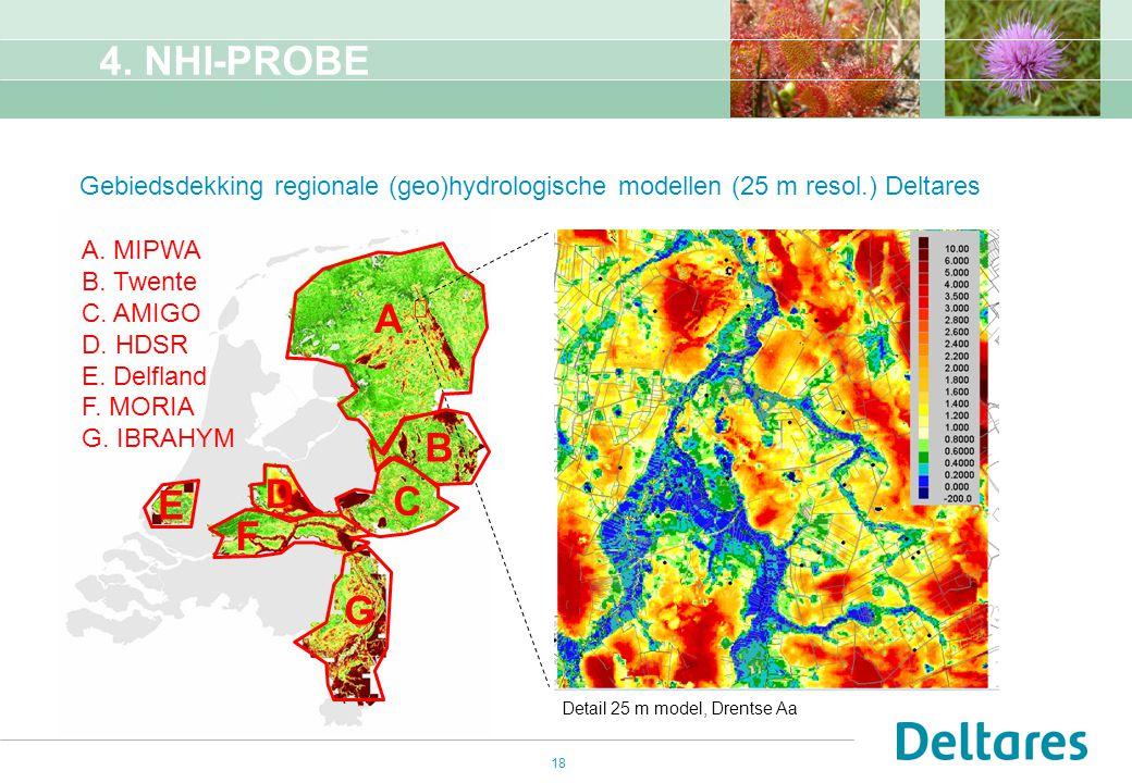 4. NHI-PROBE Gebiedsdekking regionale (geo)hydrologische modellen (25 m resol.) Deltares. A. MIPWA.