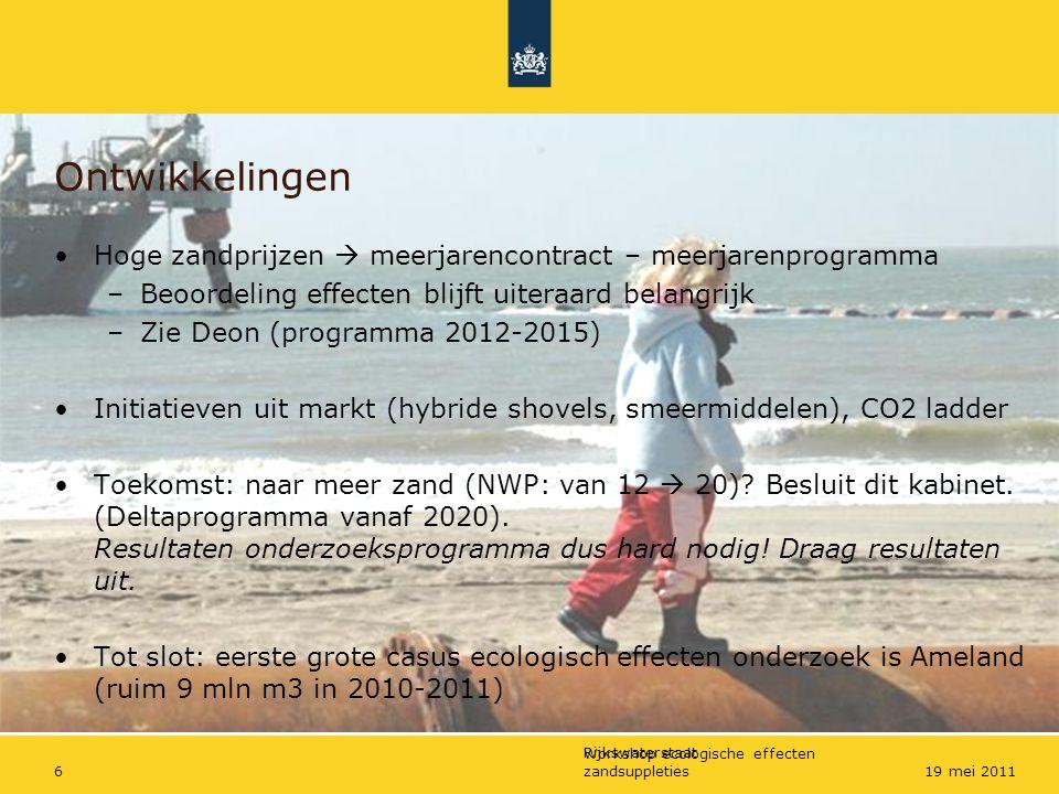 Ontwikkelingen Hoge zandprijzen  meerjarencontract – meerjarenprogramma. Beoordeling effecten blijft uiteraard belangrijk.