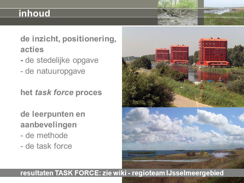 resultaten TASK FORCE: zie wiki - regioteam IJsselmeergebied