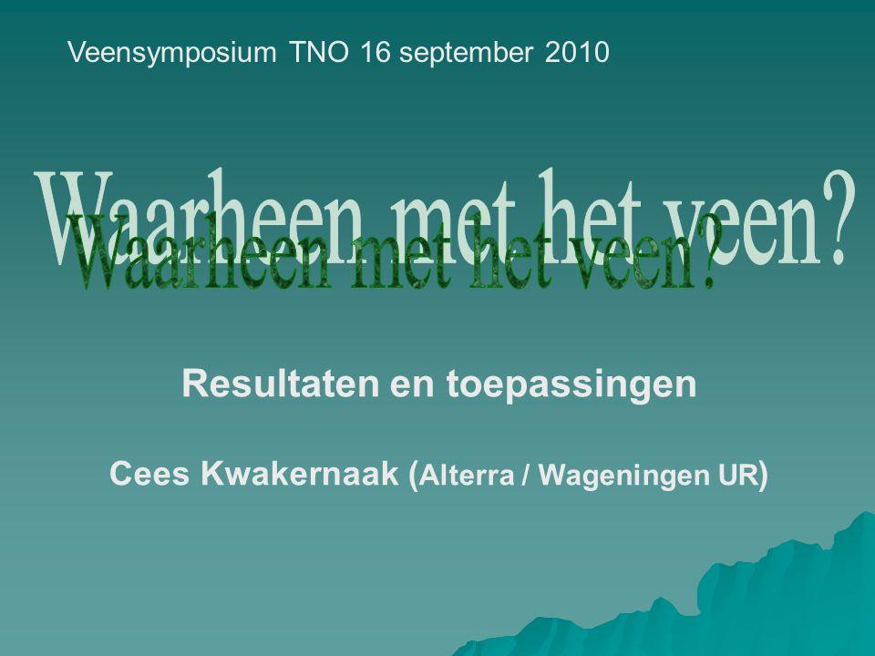 Resultaten en toepassingen Cees Kwakernaak (Alterra / Wageningen UR)