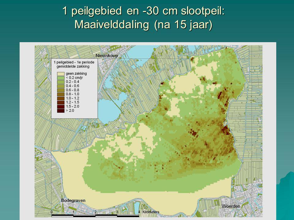 1 peilgebied en -30 cm slootpeil: Maaivelddaling (na 15 jaar)