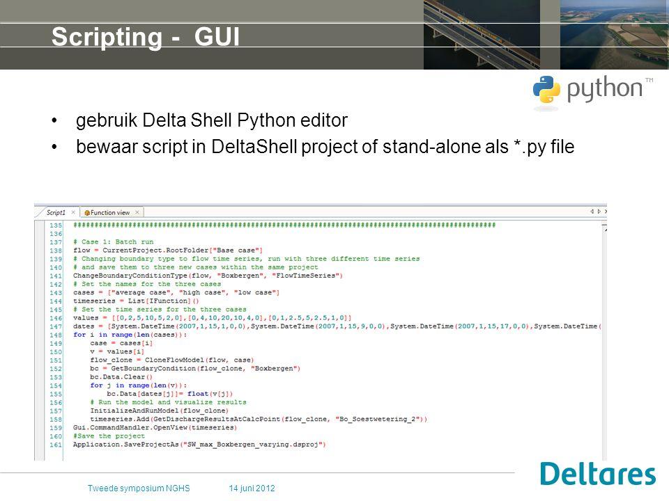 Scripting - GUI gebruik Delta Shell Python editor