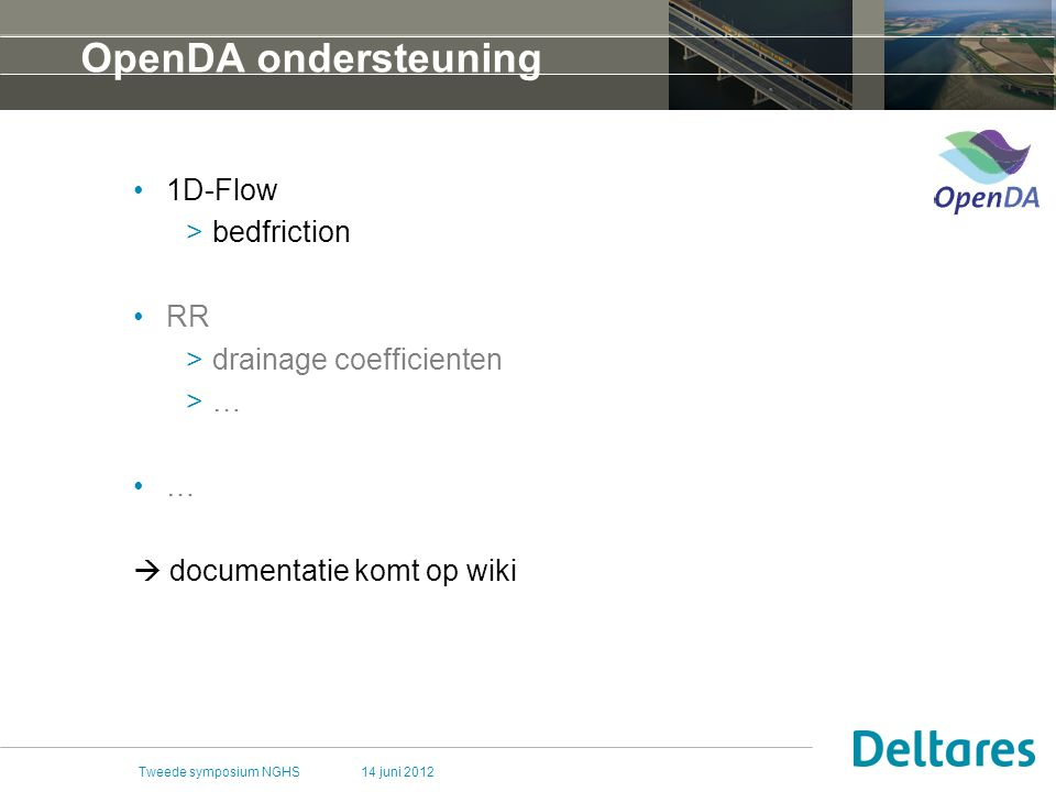 OpenDA ondersteuning 1D-Flow bedfriction RR drainage coefficienten …