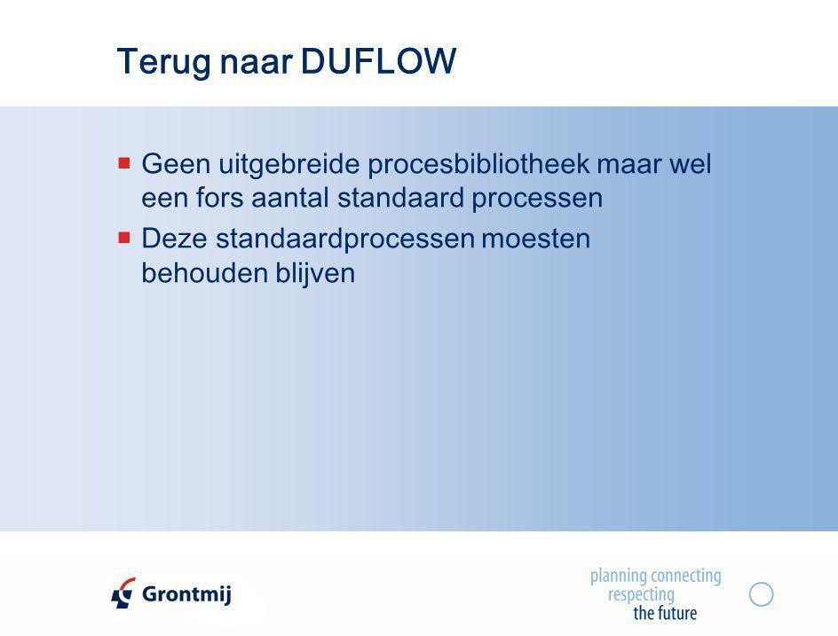Terug naar DUFLOW Geen uitgebreide procesbibliotheek maar wel een fors aantal standaard processen.