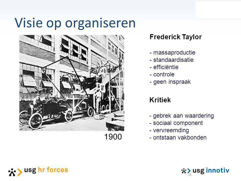 Visie op organiseren 1900 Frederick Taylor Kritiek - massaproductie