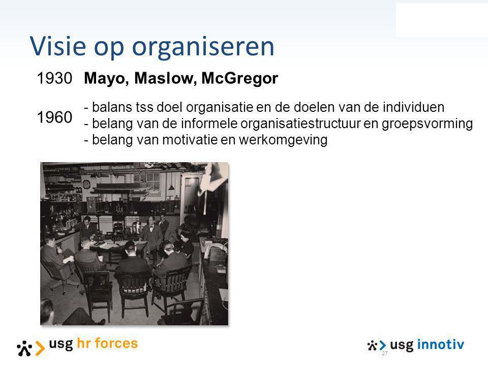 Visie op organiseren 1930 1960 Mayo, Maslow, McGregor